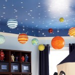 tavan albastru instelat cu planete suspendate decor camera baietel
