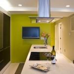 televizor lcd montat pe perete bucatarie moderna verde lime