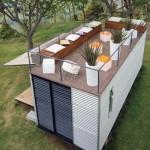 terasa amenajata pe acoperisul casei de vacanta din container