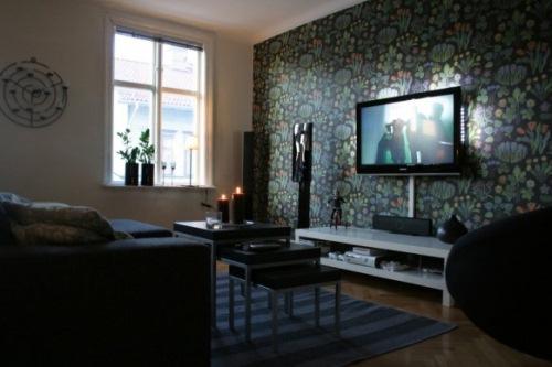tv pe perete tapet decorativ