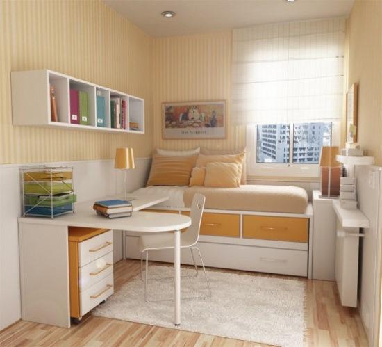 varianta amenajare camera moderna adolescent culori alb portocaliu