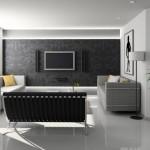 varianta amenajare living modern in alb si negru