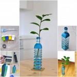 vaza pentru flori handmade din sticle reciclate