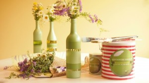 vaze handmade din sticle de vin goale