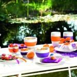 vesela colorata pentru servirea mesei afara in gradaina balcon sau terasa